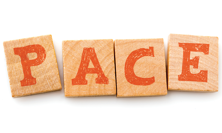 "Block letters reading ""PACE"""
