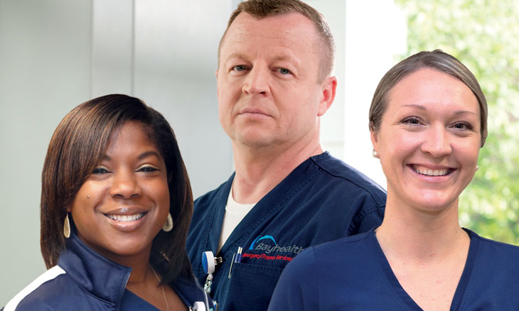 Three Bayhealth nurses celebrating residency accreditation
