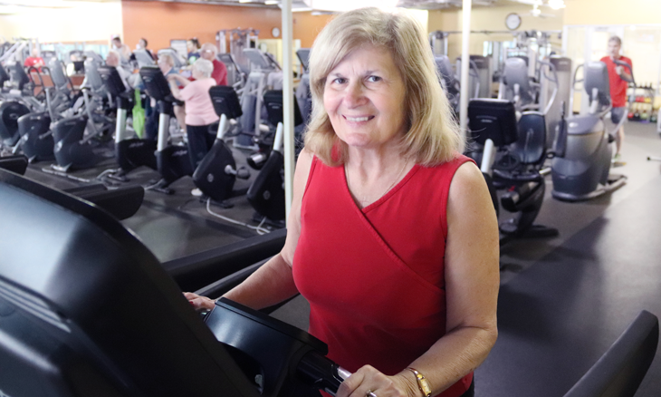 Heart attack survivor, Rae Short, on treadmill