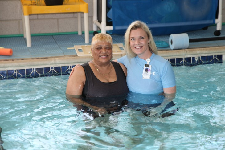 Two women in swimming pool